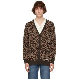 Wacko Maria Brown Leopard Jacquard Guilty Parties Cardigan 21SS-WMK-KN13