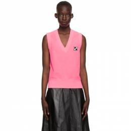 We11Done Pink Logo Patch V-Neck Vest WD-TV1-21-532-U-NP