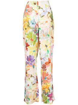 Rosie Assoulin брюки с завышенной талией и цветочным принтом R211P10