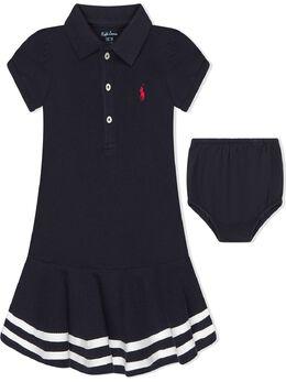 Ralph Lauren Kids платье с воротником поло и отделкой в полоску 310813945001