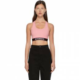 Vetements Pink Logo Sports Bra WE51TO100P