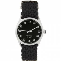 Tom Ford Silver and Black Leather 002 Watch 20146435+20144279