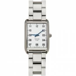 Tom Ford Silver and White Stainless Steel 001 Watch 20131729+20193378