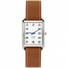 Tom Ford Brown and Silver Leather 001 Watch 20131729+20144283