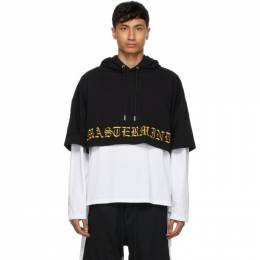 Mastermind Japan Black and White Boxy Two Material Hoodie MJ21E06-SW069-901