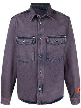 Heron Preston куртка-рубашка с нашивкой-логотипом HMYD007S21DEN0013500