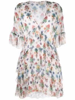 Ermanno Ermanno Scervino платье с оборками и цветочным принтом AB52STB