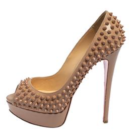Christian Louboutin Beige Patent Leather Lady Peep Toe Spike Platform Pumps Size 38.5 418933