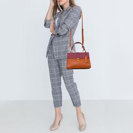Miu Miu Orange/Pink Madras Leather Pushlock Top Handle Bag 417626