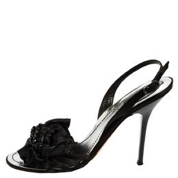 Rene Caovilla Black Satin Embellished Sandals Size 36.5 418344
