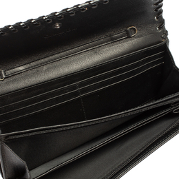 Dior Black Croc Embossed Patent Leather and Canvas Continental Wallet 418295