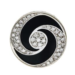 Bvlgari Optical Illusion Black Onyx Diamond 18K White Gold Ring Size 51 423323