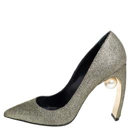 Nicholas Kirkwood Gold Glitter And Lurex Pointed Toe Block Heel Pumps Size 38 419064