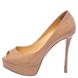 Christian Louboutin Beige Patent Leather Fetish Peep Toe Pumps Size 37 418254
