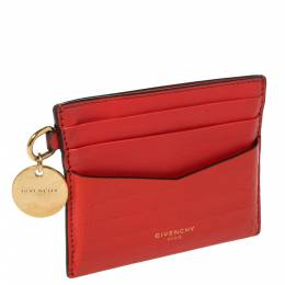 Givenchy Red Croc Embossed Leather and Leather Card Case 423297