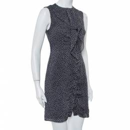 Carolina Herrera Black Printed Silk Ruffled Button Front Dress S 417677