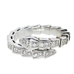 Bvlgari Serpenti Viper Diamond 18K White Gold Coil Ring L 418403