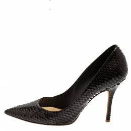 Dior Black/Grey Python Cherie Pointed Toe Pumps Size 39 420952