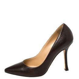 Sergio Rossi Brown Leather Pointed Toe Pumps Size 35 419126