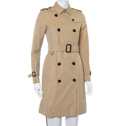 Burberry Beige Cotton Belted The Kensington Trench Coat XS 422830