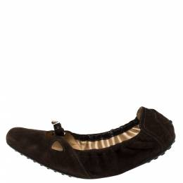 Tod's Brown Suede Bow Scrunch Ballet Flats Size 40.5 419122