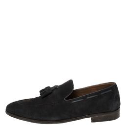 Loro Piana Navy Blue Suede Tassel Slip On Loafers Size 42.5 423950