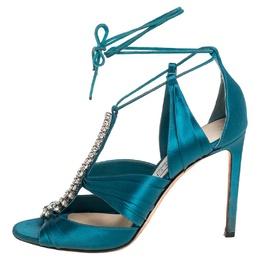 Jimmy Choo Teal Blue Satin Kenny Embellished Ankle Wrap Sandals Size 39 418025