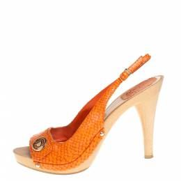 Dior Orange Python Embossed Leather Slingback Sandals Size 38 421096