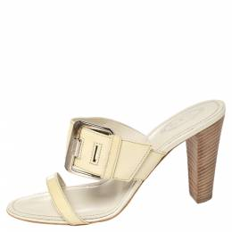 Tod's Beige Patent Leather Peggy Buckle Slide Sandals Size 39 423987