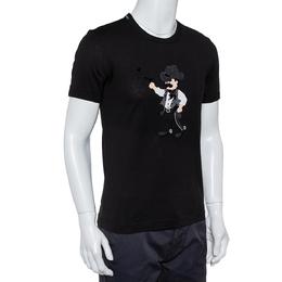 Dolce&Gabbana Black Cotton Lone Cowboy Applique Crewneck T-Shirt XS 417347