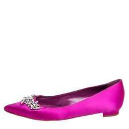 Manolo Blahnik Fuchsia Satin Lurum Embellished Ballet Flats Size 37 417177