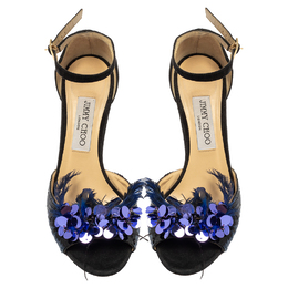 Jimmy Choo Black/Blue Suede And Feather Annie Embellished Sandals Size 39 417455