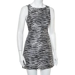 Alice + Olivia Monochrome Metallic Jacquard Sleeveless Everleigh Mini Dress S 417332
