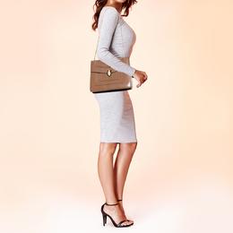 Bvlgari Brown Leather Large Serpenti Forever Shoulder Bag 382891