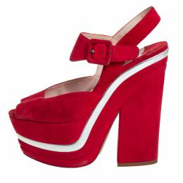 Miu Miu Red Suede Platform Sandals Size 36 423892