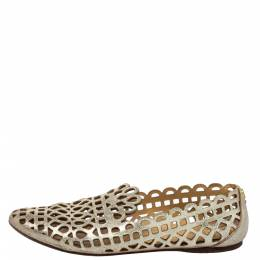 Tory Burch Gold Leather Laser Cut Loafers Size 37 424999