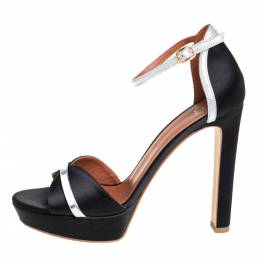 Malone Souliers Black/Silver Satin And Patent Leather Miranda Ankle Strap Sandals Size 39 423807
