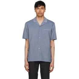 Ermenegildo Zegna Blue Jacquard Short Sleeve Shirt UW392-750