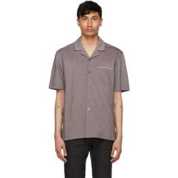 Ermenegildo Zegna Brown Jacquard Short Sleeve Shirt UW392-750