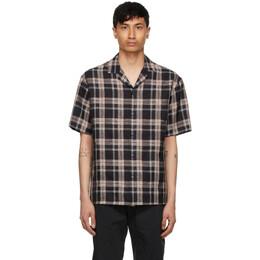 Z Zegna Black and Brown Checkered Linen Short Sleeve Shirt 905092-ZCOB2