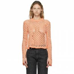 Acne Studios Orange and White Fishnet Tunic Pullover A60277-