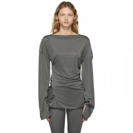 Acne Studios Grey Satin Long Sleeve T-Shirt AL0216-