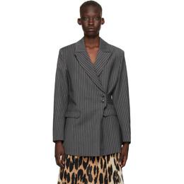 Ganni Grey Stripe Suiting Blazer F5960
