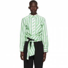 Ganni White and Green Stripe Wrap Shirt F5737