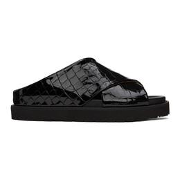 Ganni Black Croc Crossover Platform Sandals S1495