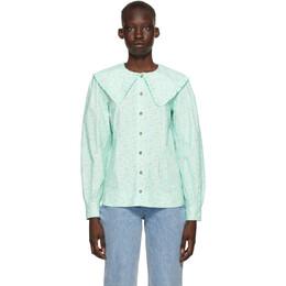 Ganni Blue Printed Poplin Shirt F5911
