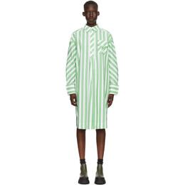 Ganni White and Green Stripe Oversized Shirt Dress F5740