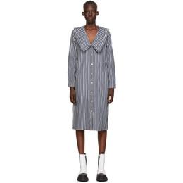 Ganni Indigo and White Denim Mixed Stripe Loose Shirt Dress F5839