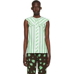 Ganni White and Green Stripe Sleeveless Shirt F5739