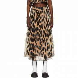 Ganni Beige and Black Georgette Pleated Skirt F5859